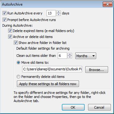Global AutoArchive Settings in Outlook