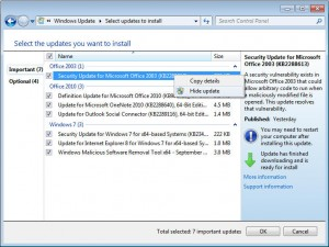 Hide Automatic Windows updates to keep them from reinstalling