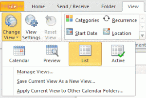 Choose List view in Outlook 2010
