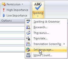 Outlook 2007's set language option