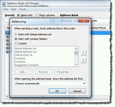 Outlook Contact & Address Book Options