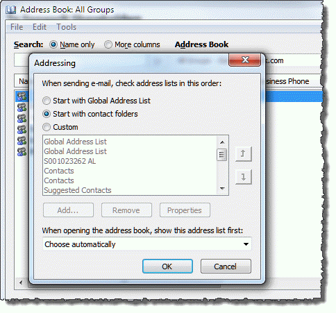 Outlook 2010 Address book options