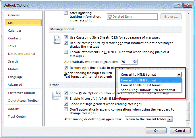 Outlook is Sending Winmail.dat Attachments