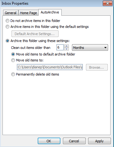 Per folder archive settings