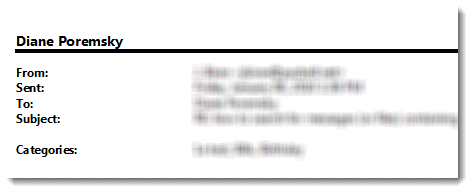 Header on a printed email