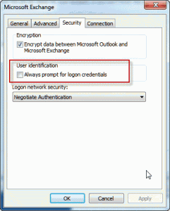 Prompt for credentials dialog
