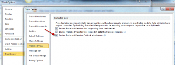 Disable Protected view