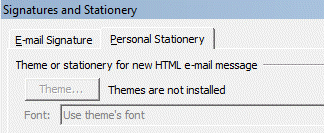 Stationery and Fonts dialog