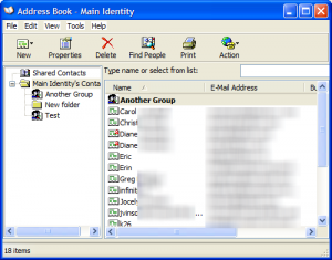 Save or export contacts in the windows address book