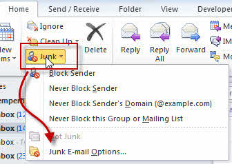 Expand the junk mail button to find options