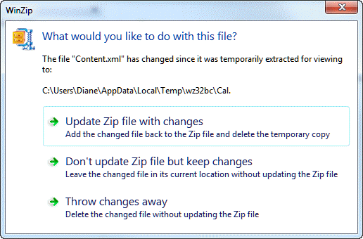 Update the zip file with your edited file