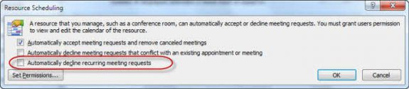 Automatically decline recurring appointments
