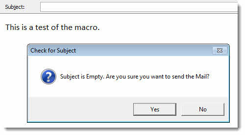 Macro to Warn Before Sending a Message with a Blank Subject