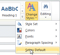 Use Change styles to set the default Body font