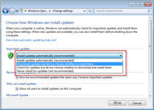 Windows 7 - configure updates