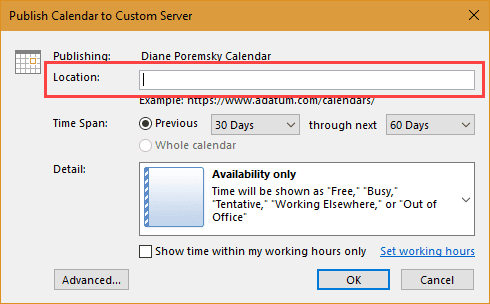 publish a calendar to a web server