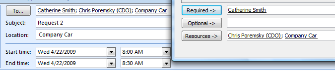 To Cc or Bcc a Meeting Request