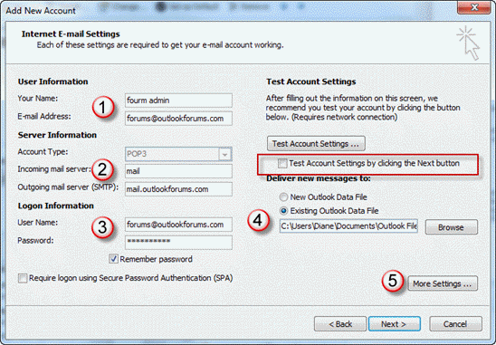 How to create a send-only POP3 account