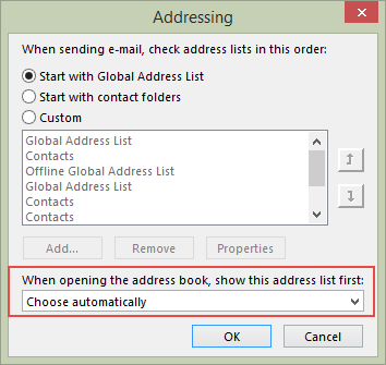 Outlook 2010/2013 address book options