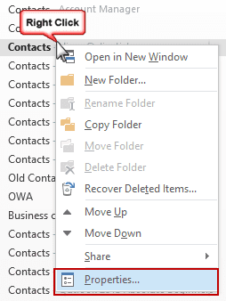 Enabling the Contacts Folder as an Address Book
