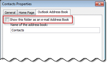 contacts as address book in outlook 2010 and older