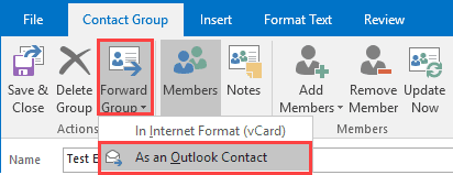 forward as outlook contact