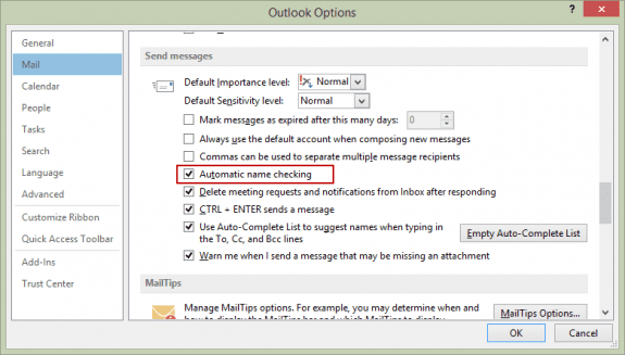 Automatic Name Checking