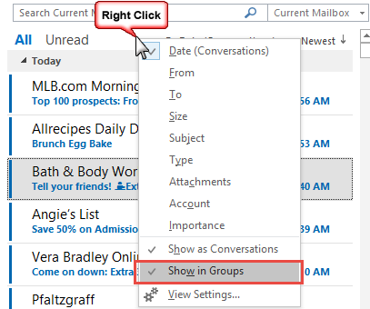 Turn off show in groups