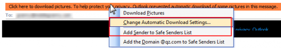 Change blocked settings or add to safe list