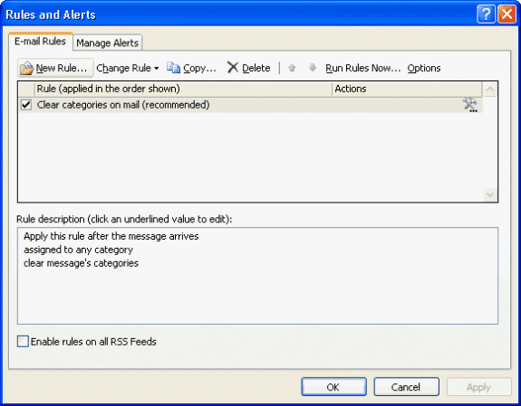 Outlook's default rule to remove categories
