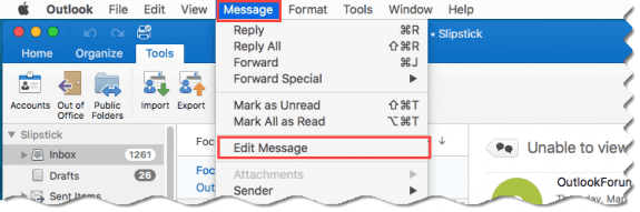 select the message, then Message, Edit message