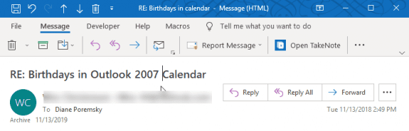 edited subject in outlook 2019