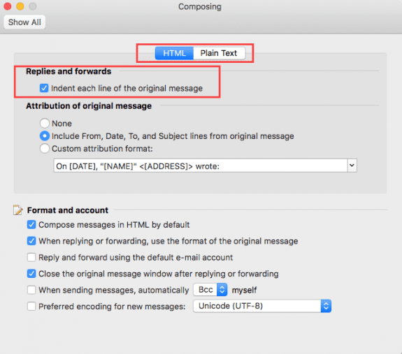 Compose Options on a Mac