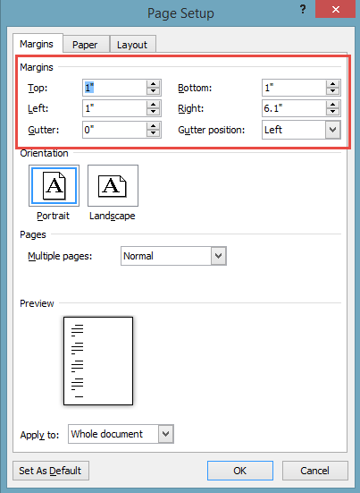 Page margin dialog