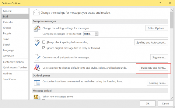 Stationery and fonts button in Outlook