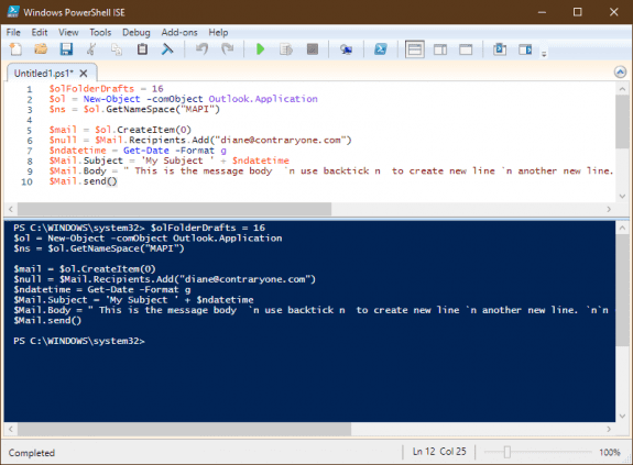 test the script in the powershell editor