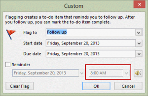 The Quick Click Setting determines the Custom defaults