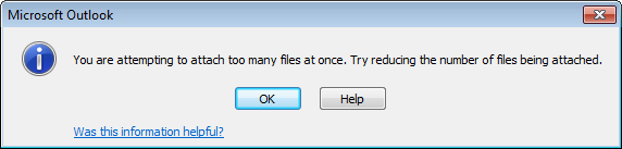 Attaching too many files warning