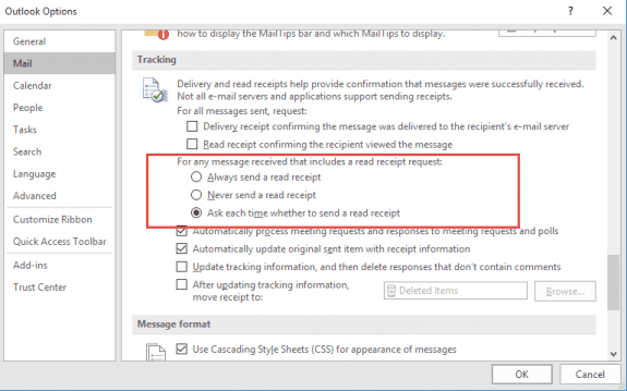 read receipt settings in Outlook 2010 and newer