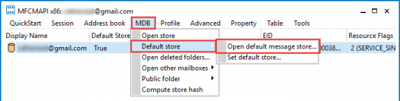 open the default data store