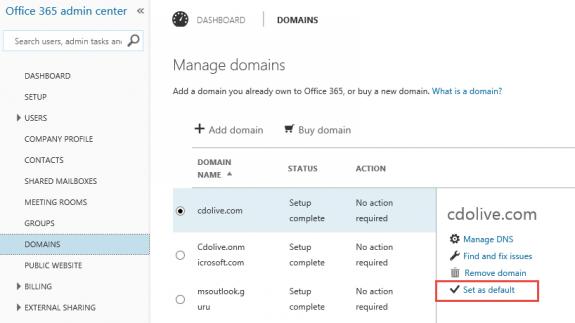 Change the default domain