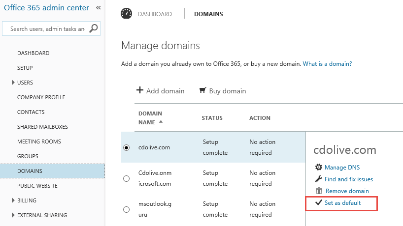 Changing the From Domain in Office 365