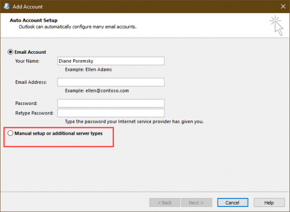 choose autoaccount setup or manually add account