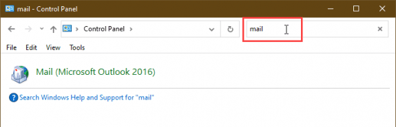 Find Mail in Control panel