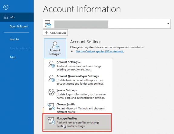 choose manage profiles to open the profile dialog from within Outlook