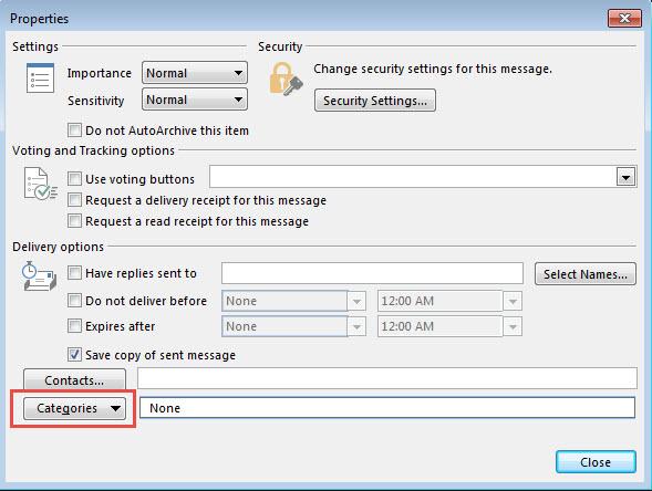 Outlook Categories, Flags, and IMAP Accounts