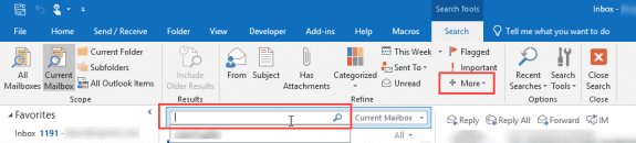 outlook search ribbon