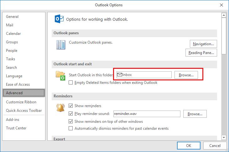 Choose the Folder Outlook Starts Up In