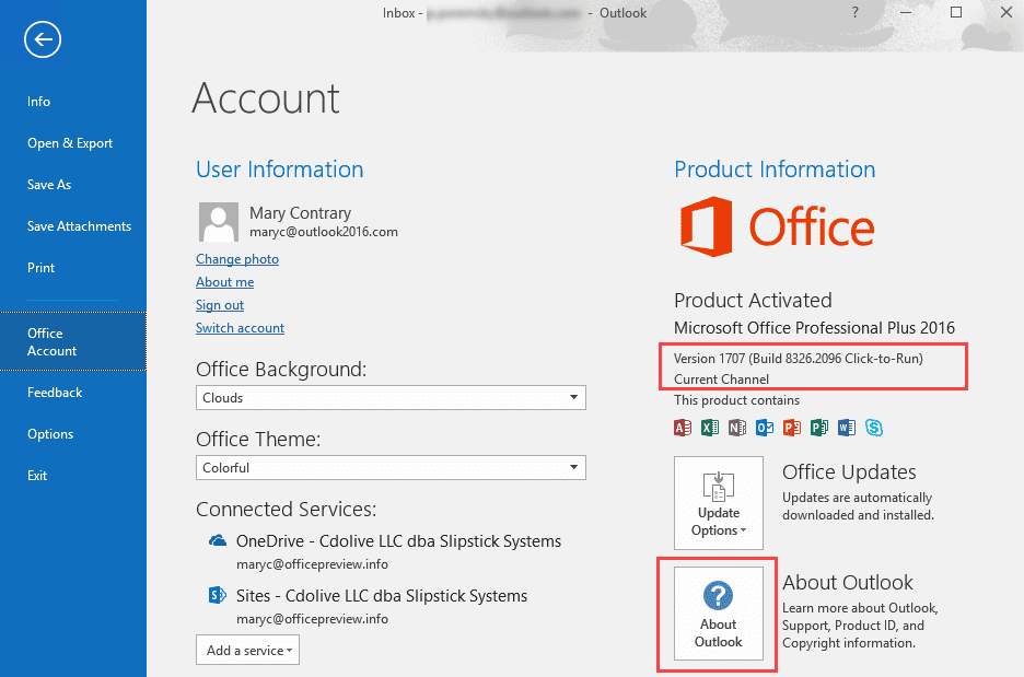 Outlook Version Numbers