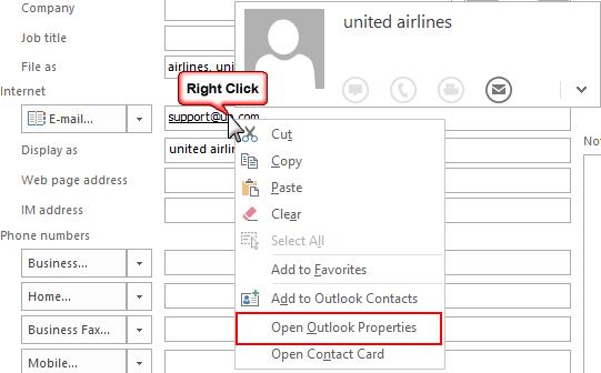 Open Outlook Properties
